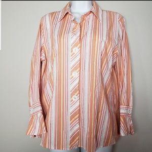 🌷Foxcroft orange striped button down shirt sz 12
